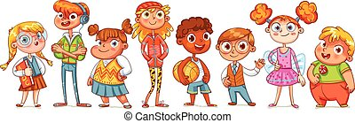 Cute variety of children standing in a row. Vector...