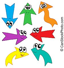 Cute various colors arrows - isolated illustration.