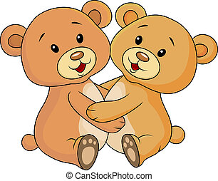Cute vear embrace each other - Vector illustration of Cute...