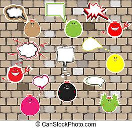 cute, vect, monstros, tijolo, wall.