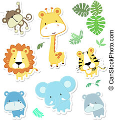cute vector animals - vector cartoon illustration of seven ...