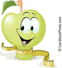cute vector apple smiling with tape