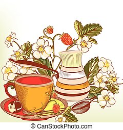 Cute vector background with cup of
