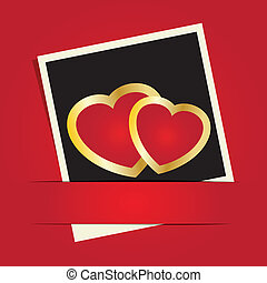 Cute vector background with two  hearts