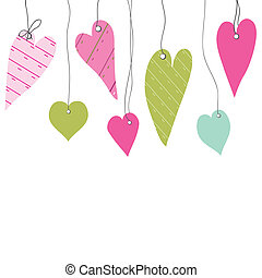 Cute vector background with vintage hearts