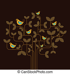 cute vector birds on a tree
