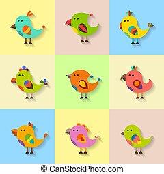 Cute vector birds set in flat style