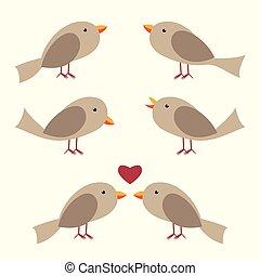 Cute vector birds set