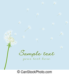 Cute vector blow dandelion on blue background