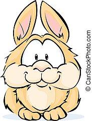cute vector bunny sitting isolated