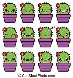 Cute vector cactus emoticons