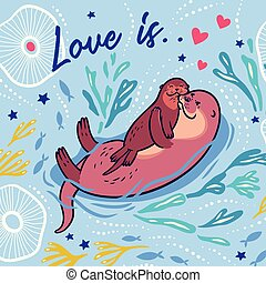 Cute vector card with mother and child otters. Vector illustration