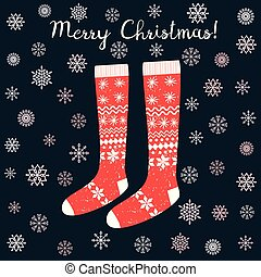 Cute vector card with red Christmas stockings on dark background with pink snowflakes
