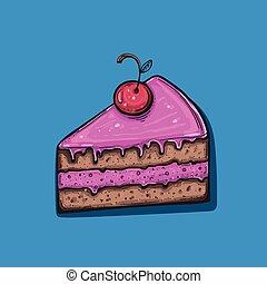 Cute vector cartoon Cake Slice