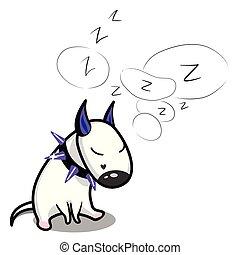 Cute vector cartoon dog. Sleeping white Bull Terrier.
