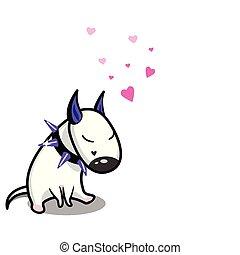 Cute vector cartoon dog. White Bull Terrier in love.