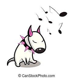 Cute vector cartoon dog. White Bull Terrier listening to music.