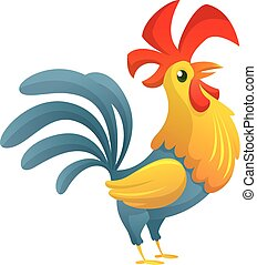 Cute vector cartoon rooster. Illustration of a colorful rooster standing on one leg