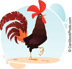 Cute vector cartoon Rooster isolated on white background