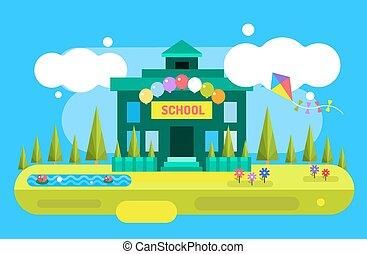 Cute vector cartoon school building illustration background