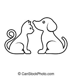 Cute vector cat and dog icons