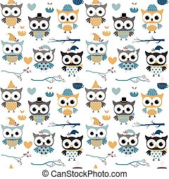 Cute vector Christmas and winter seamless pattern with fun owls with hats and scarves in blue, gold and grey colors