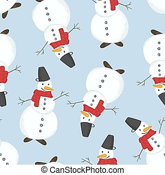 Cute vector Christmas pattern with Snowmen