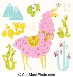 Cute vector design with alpaka and cacti