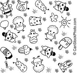 Cute vector doll doodle