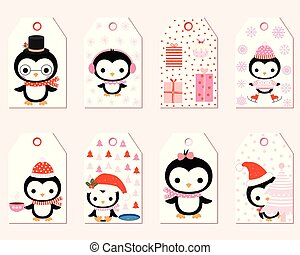 Cute vector gift tags with cartoon penguin characters for Christmas presents and winter decoration