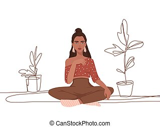 Cute vector girl sitting. Fashion vector illustration in flat style isolated on white.