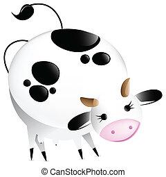 Cute vector glossy cow. Editable Vector Illustration