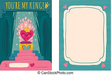 heart on throne - Cute vector greeting card for Valentine's...