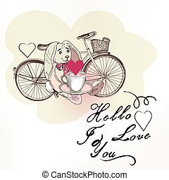Cute vector greeting card with pretty hare holding a cup near bicycle hello I love you ideal for wedding design, invitations Tshirt prints.eps
