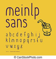 Cute vector hand-drawn font. Part 1- lowercase