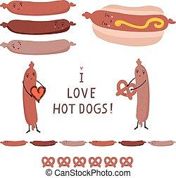 Cute vector hot dog bun with love heart, pretzel cartoon illustration.