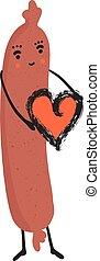 Cute vector hot dog holding love heart. Cartoon illustration