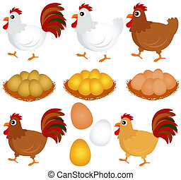 Chicken, Hen, Rooster - Cute vector Icons : Chicken, Hen,...