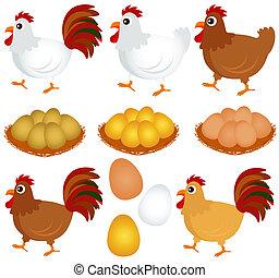 Chicken, Hen, Rooster - Cute vector Icons : Chicken, Hen, ...
