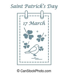 Cute vector illustration: calendar with bird and clover for St. Patrick's Day.