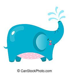 Cute vector illustration elephant cartoon. Baby animal