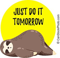 Cute vector illustration. Funny cartoon sloth lying