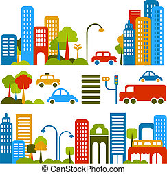 Cute vector illustration of a city street - Vector ...