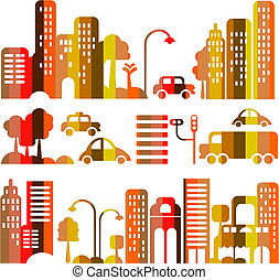 Cute vector illustration of an evening city street