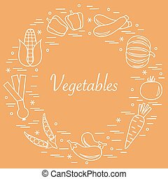 Cute vector illustration of different autumn seasonal vegetables arranged in a circle.