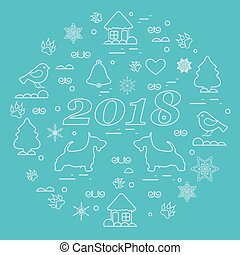 Cute vector illustration of different new year and Christmas symbols arranged in a circle. Winter elements made in line style.