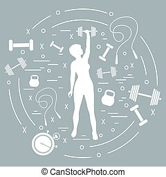 Cute vector illustration of fitness athletic woman holds ...