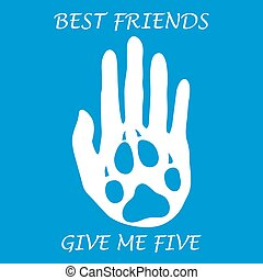 Cute vector illustration of human hand silhouette holding paw of dog. Friends forever. Give me five.