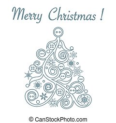 Cute vector illustration of original Christmas tree decorated with buttons and snowflakes. Card for winter holidays.