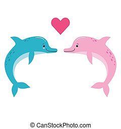 Cute vector illustration of two dolphins being in love with little red heart between them